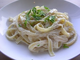 Fetuccine Alfredo with Vegan Alfredo Sauce topped with Basil by Kelly Childs