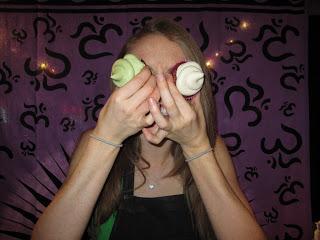 Erinn Weatherbie wearing cupcakes for glasses
