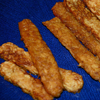 Fried tempeh sticks.