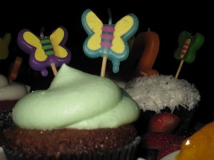 Butterfly toothpicks in a cupcake
