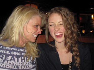 Kelly Childs cracking up with Erinn Weatherbie