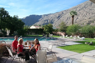 Michael Rennie, Kelly Childs, and Erinn Weatherbie enjoying breakfast in Palm Springs California