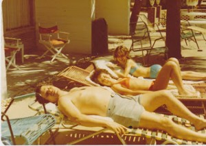 Russ Childs with Shannon Childs and Kelly Childs on Myrtle Beach in 1973