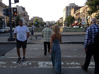 Kelly Childs strolling through a hot and humid Washington DC street