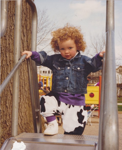 Erinn Weatherbie playing on a playground when she was little