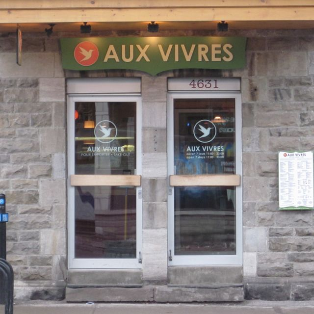 Stoop of Aux Vivres restaurant in Montreal