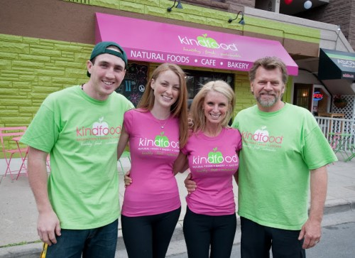 Michael, Erinn, Kelly and Ken standing in front of KindFood
