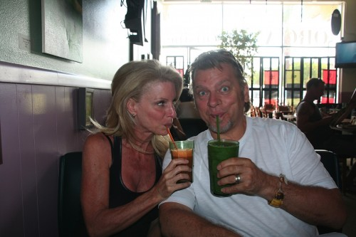 Kelly and Ken Childs enjoying a smoothie together at their favorite restaurant