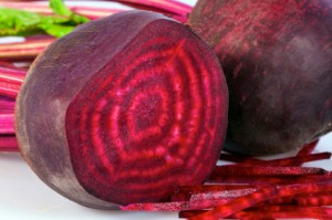 A fresh beet recently cut open by Kelly Childs
