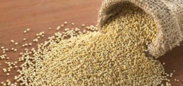 A sack of golden quinoa