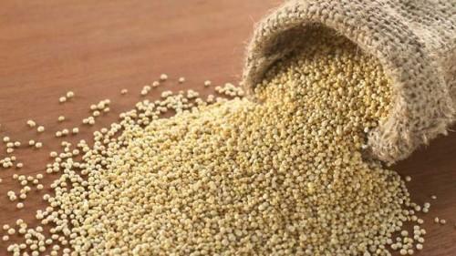 A sack of golden quinoa