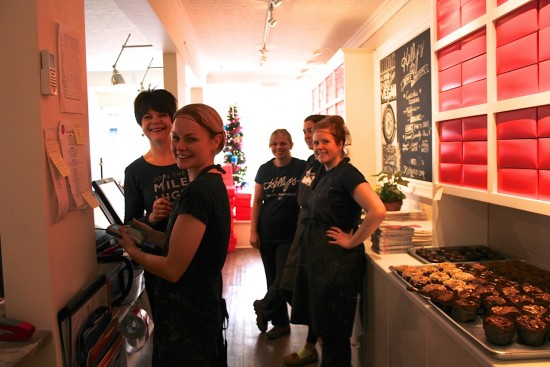 The proud team members of Kelly's Bake Shoppe