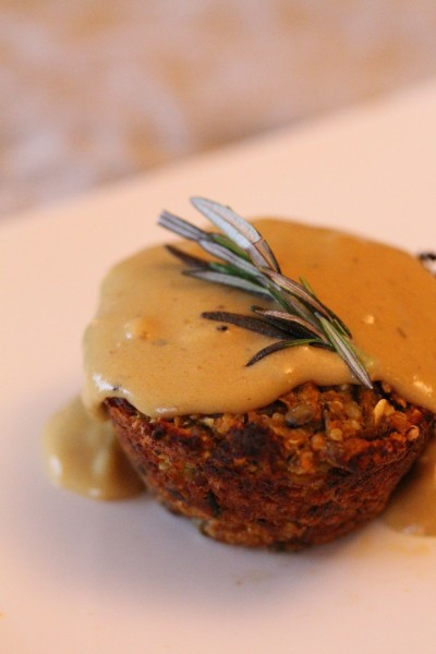 Kelly Childs' Vegan Gravy over a Nut, Quinoa and Millet Loaf