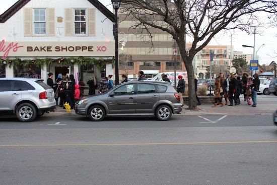 People lining up for cupcakes at Kelly's Bake Shoppe in the middle of winter