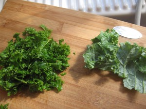 Kale that has been freshly massaged by Kelly Childs
