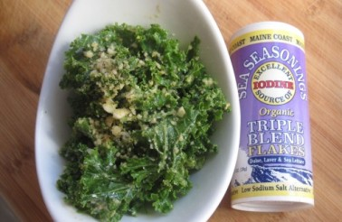 Kelly Childs' completed kale caesar salad