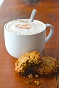 A Skinny Cookie next to a Vegan Latte in Kelly's Bake Shoppe