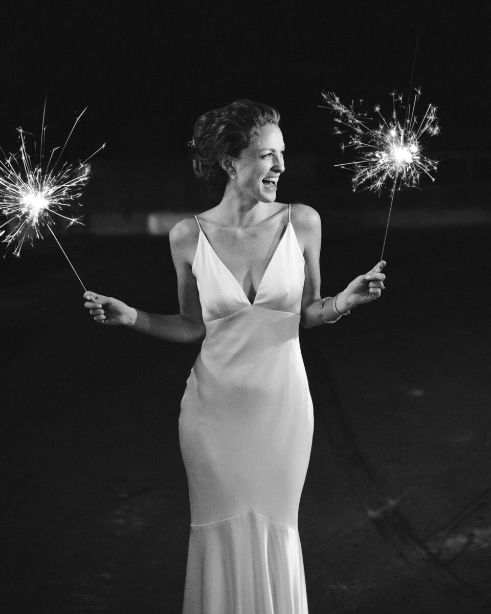 Erinn Weatherbie Wedding with sparklers